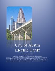 City of Austin Electric Tariff