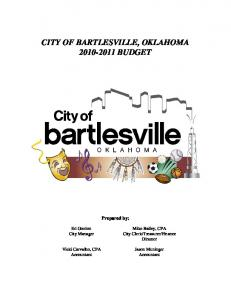 CITY OF BARTLESVILLE, OKLAHOMA BUDGET