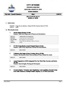 CITY OF BOISE COUNCIL MEETING MINUTES MARCH 31, 2015 WORK SESSION. City Hall - Council Chambers Final 3:30 PM 150 N CAPITOL BLVD BOISE, ID 83702