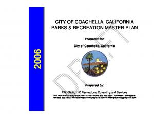 CITY OF COACHELLA, CALIFORNIA PARKS & RECREATION MASTER PLAN