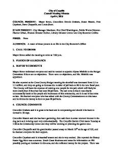 City of Coquille Council Meeting Minutes April 4, 2016