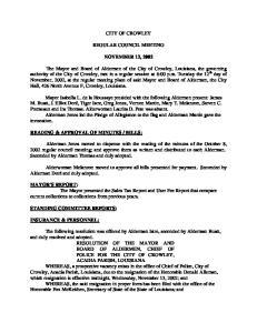 CITY OF CROWLEY REGULAR COUNCIL MEETING NOVEMBER 12, 2002