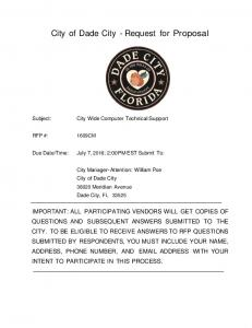 City of Dade City - Request for Proposal