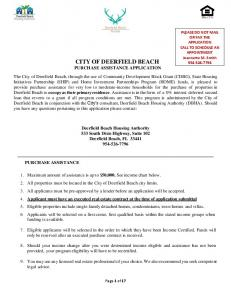 CITY OF DEERFIELD BEACH PURCHASE ASSISTANCE APPLICATION