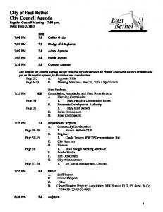 City of East Bethel City Council Agenda Regular Council Meeting 7:00 p.m. Date: June 3, 2015