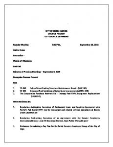 CITY OF ELGIN, ILLINOIS COUNCIL AGENDA CITY COUNCIL CHAMBERS. Regular Meeting 7:00 P.M. September 23, 2015