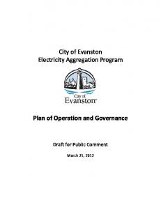 City of Evanston Electricity Aggregation Program. Plan of Operation and Governance. Draft for Public Comment