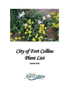 City of Fort Collins Plant List