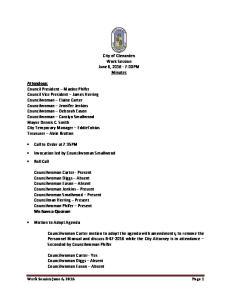 City of Glenarden Work Session June 6, :00PM Minutes