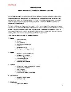 CITY OF GOLDEN PARKS AND RECREATION RULES AND REGULATIONS