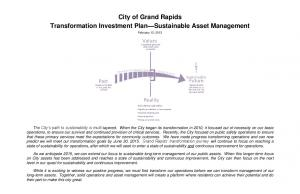 City of Grand Rapids Transformation Investment Plan Sustainable Asset Management