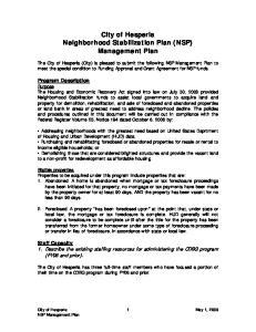 City of Hesperia Neighborhood Stabilization Plan (NSP) Management Plan