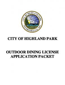 CITY OF HIGHLAND PARK OUTDOOR DINING LICENSE APPLICATION PACKET