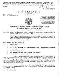 CITY OF JERSEY CITY 280 Grove Street Jersey City, New Jersey 07302