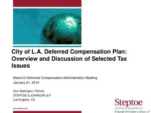 City of L.A. Deferred Compensation Plan: Overview and Discussion of Selected Tax Issues