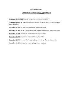 City of Lago Vista. Comprehensive Master Plan Amendments