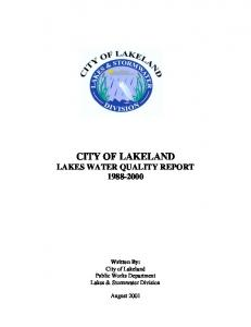 CITY OF LAKELAND LAKES WATER QUALITY REPORT