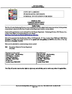 CITY OF LAREDO PURCHASING DIVISION FORMAL INVITATION FOR BIDS