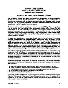 CITY OF LEE S SUMMIT PUBLIC WORKS DEPARTMENT TRAFFIC ENGINEERING