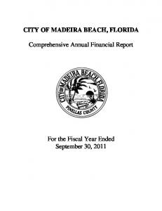 CITY OF MADEIRA BEACH, FLORIDA. Comprehensive Annual Financial Report