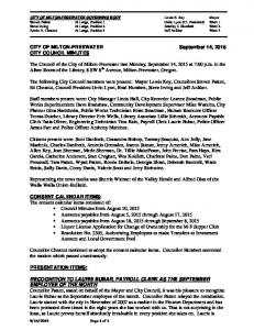 CITY OF MILTON-FREEWATER September 14, 2015 CITY COUNCIL MINUTES