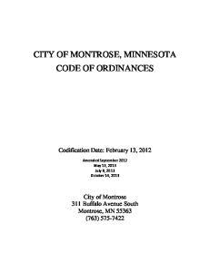 CITY OF MONTROSE, MINNESOTA CODE OF ORDINANCES