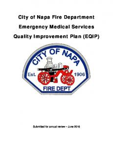 City of Napa Fire Department. Emergency Medical Services. Quality Improvement Plan (EQIP)