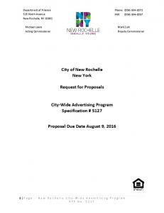 City of New Rochelle New York. Request for Proposals. City-Wide Advertising Program Specification # Proposal Due Date August 9, 2016