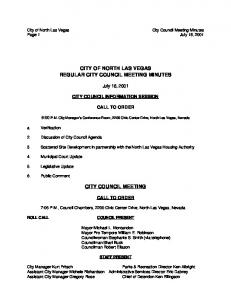CITY OF NORTH LAS VEGAS REGULAR CITY COUNCIL MEETING MINUTES