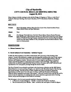 City of Northville CITY COUNCIL REGULAR MEETING MINUTES August 20, 2012