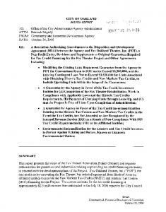 CITY OF OAKLAND AGENDA REPORT
