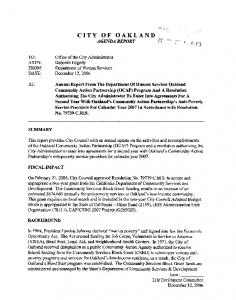 CITY OF OAKLAND AGENDA REPORT