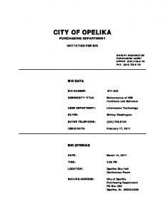 CITY OF OPELIKA PURCHASING DEPARTMENT INVITATION FOR BID BID DATA BID NUMBER: B Shirley Washington BUYER TELEPHONE: (334) BID OPENING