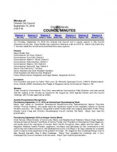 City of Orlando COUNCIL MINUTES