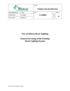 City of Ottawa Street Lighting. General Servicing of the Existing Street Lighting System