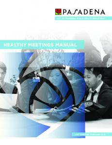 CITY OF PASADENA PUBLIC HEALTH DEPARTMENT HEALTHY MEETINGS MANUAL