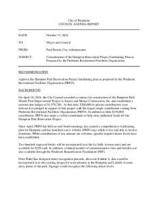 City of Piedmont COUNCIL AGENDA REPORT. Paul Benoit, City Administrator