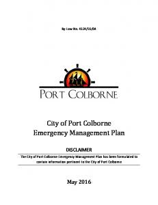 City of Port Colborne Emergency Management Plan