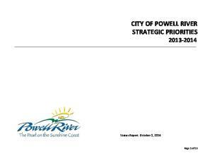 CITY OF POWELL RIVER STRATEGIC PRIORITIES
