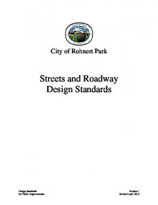 City of Rohnert Park. Streets and Roadway Design Standards