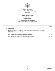 City of Saint John Common Council Special Meeting AGENDA