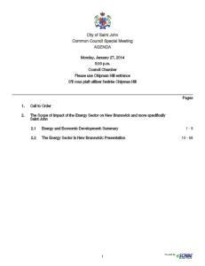 City of Saint John Common Council Special Meeting AGENDA
