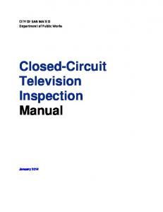 CITY OF SAN MATEO Department of Public Works. Closed-Circuit Television Inspection Manual