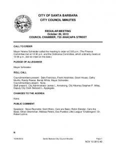 CITY OF SANTA BARBARA CITY COUNCIL MINUTES