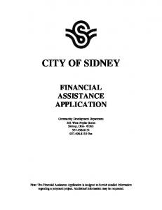 CITY OF SIDNEY FINANCIAL ASSISTANCE APPLICATION