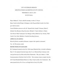 CITY OF STERLING HEIGHTS MINUTES OF REGULAR MEETING OF CITY COUNCIL WEDNESDAY, MAY 6, 2015 IN CITY HALL