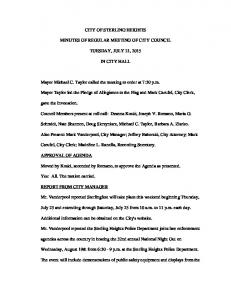 CITY OF STERLING HEIGHTS MINUTES OF REGULAR MEETING OF CITY COUNCIL TUESDAY, JULY 21, 2015 IN CITY HALL