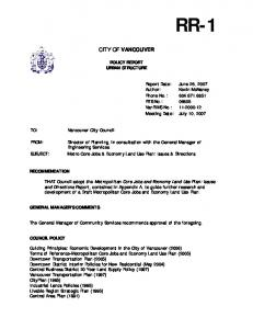 CITY OF VANCOUVER POLICY REPORT URBAN STRUCTURE