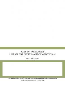 City of Vancouver URBAN FORESTRY MANAGEMENT PLAN
