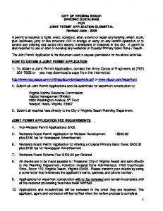 CITY OF VIRGINIA BEACH SPECIFIC GUIDELINES FOR JOINT PERMIT APPLICATION SUBMITTAL Revised June